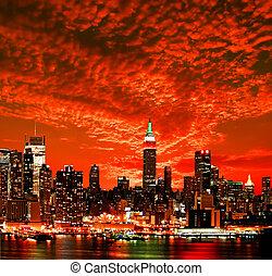 velkoměsto městská silueta, york, čerstvý, midtown