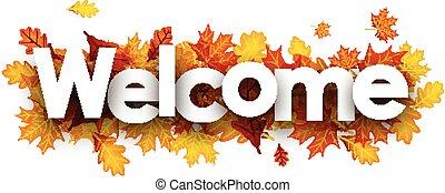 velkommen, banner, hos, gylden, leaves.