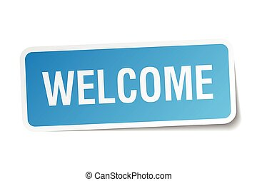 velkommen, blå kvadratiske, mærkaten, isoleret, på hvide