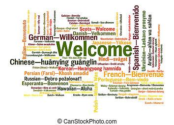velkommen, frase, gloser, sky, begreb