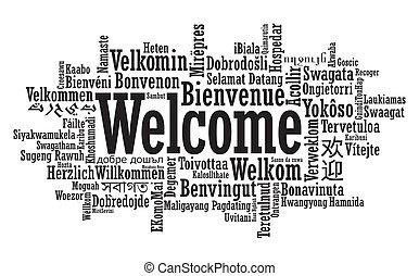 velkommen, glose, sky, illustration