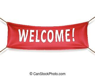 velkommen, rød, banner