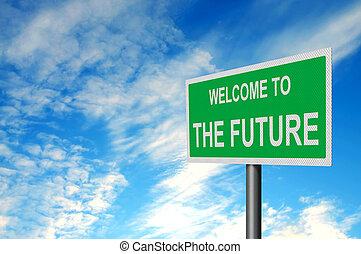 velkommen, til, fremtid, tegn