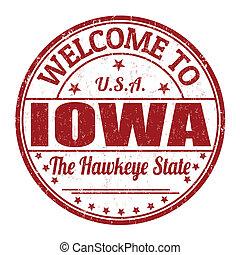 velkommen, til, iowa, frimærke