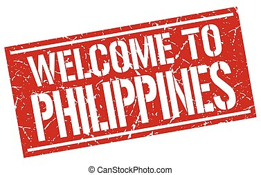 velkommen, til, philippines, frimærke