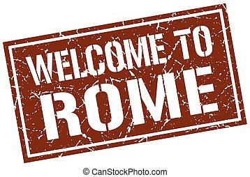 velkommen, til, rome, frimærke