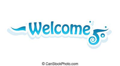 velkommen, vektor, tekstning, på hvide, baggrund