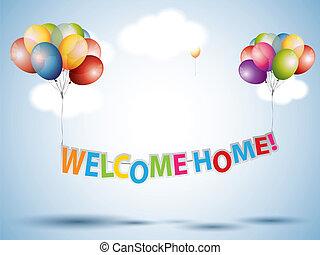 velkomst til hjem, tekst, hos, colorful balloner