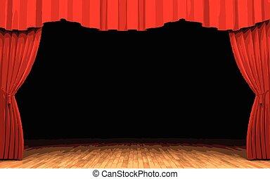 velluto, apertura, scena, vettore, tenda, rosso