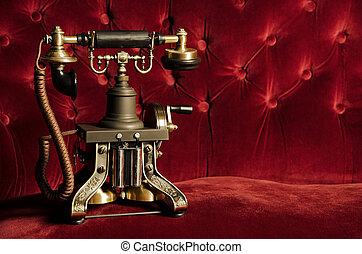 velluto, classico, vendemmia, -, telefono, divano, telefono, retro, rosso