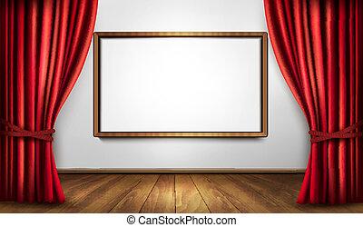 velluto, illustration., legno, floor., vettore, fondo, tenda, rosso