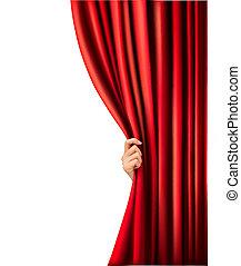 velluto, illustration., mano., vettore, fondo, tenda, rosso