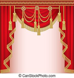 velluto, illustrazione, fondo, nappe, tenda, rosso