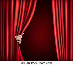 velluto, mano., illustrazione, vettore, fondo, tenda, rosso