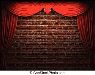 velluto, parete, vettore, fondo, tenda, stome