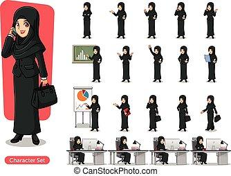 velo, diseño, mujer de negocios, negro, caricatura, traje, ...