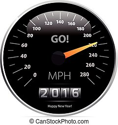 velocímetro, calendario, 2016, coche.