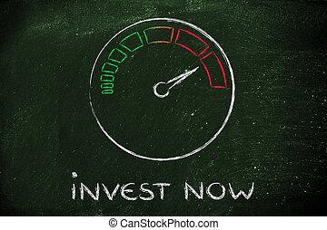 velocímetro, e, rapidamente, success:, investir, agora