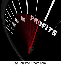 velocímetro, -, lucros ascendentes, sucedido, negócio