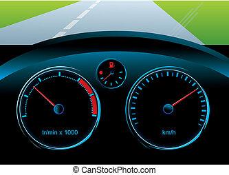 velocímetro, nivel, tacómetro, -, tablero de instrumentos, coche, combustible, sensor