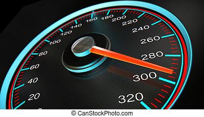 velocímetro, rápido, velocidad