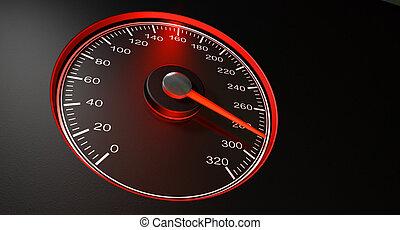 velocímetro, vermelho, rapidamente, velocidade