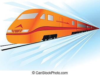 velocidad, alto, rápido, vector, tren