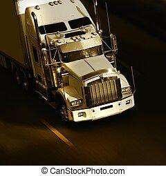velocidad, amarillo, semi- camión, en, carretera
