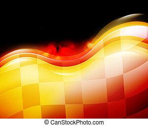 velocidad, bandera de la raza, con, llamas, en, negro