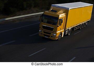 velocidad, camión, amarillo, remolque
