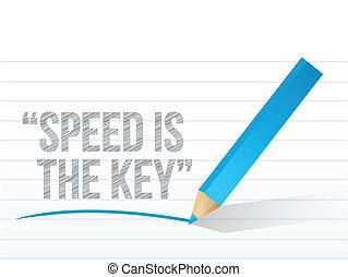 velocidad, es, el, llave, escrito, en, un, bloc, paper.