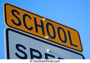velocidad, escuela, límite, señal