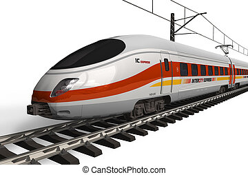 velocidad, moderno, tren, alto