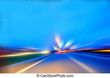 velocidad, movimiento, coche, en, carretera