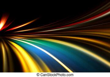 velocidad, movimiento, en, noche, camino