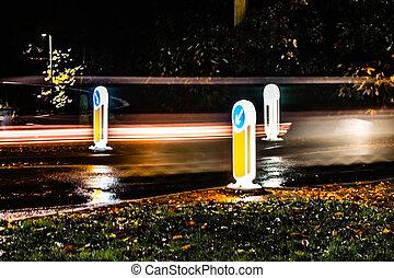 velocidad, oscuridad, tráfico, plano de fondo, señales, ...