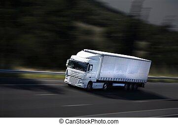 velocidad, semi- camión, en, carretera