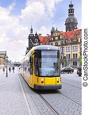 velocidad, tranvía, vida, dresden, urbano