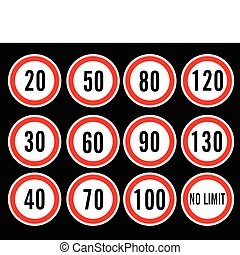 velocidad, vector, límite, señales