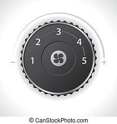 velocidad, ventilación, ajuste, calibrador, aire