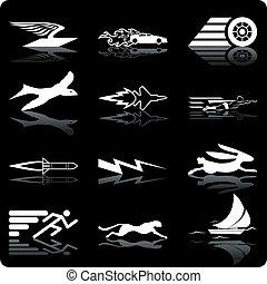 velocidade, ícones