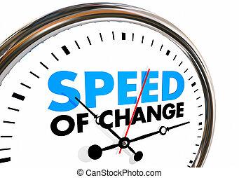 velocidade, de, mudança, relógio, progresso, evolução, tempo, palavras, 3d, ilustração