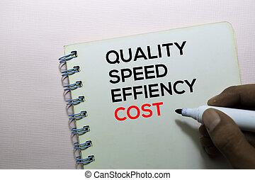 velocidade, escritório, texto, isolado, custo, qualidade, eficiência, escrivaninha, livro