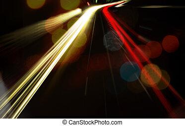 velocidade, estrada, noturna