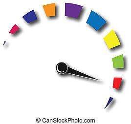 velocidade, hodômetro, coloridos, logotipo