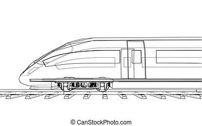 velocidade, trem, vetorial, modernos, concept.