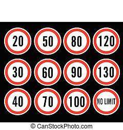 velocidade, vetorial, limite, sinais