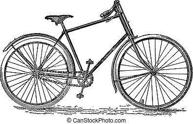 velocipede, bicicleta, vendimia, engraving.