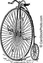 velocipede, gewoon, fiets, ouderwetse , engraving.