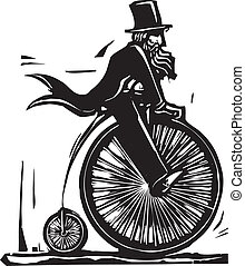 Man in top hat on a velocipede bicycle.